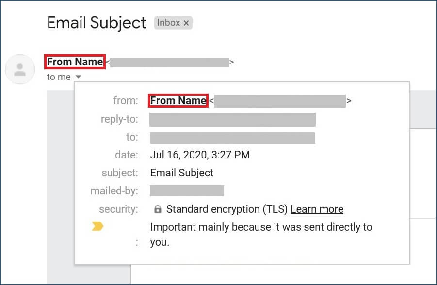 Form Name in the inbox with open email