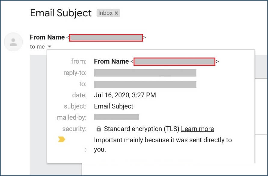 From Email in the inbox with open email