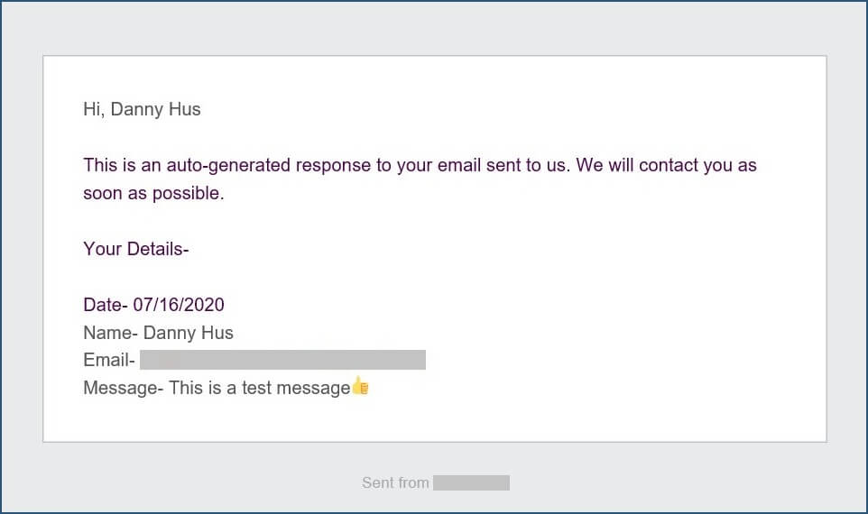 WPForms confirmation email in inbox