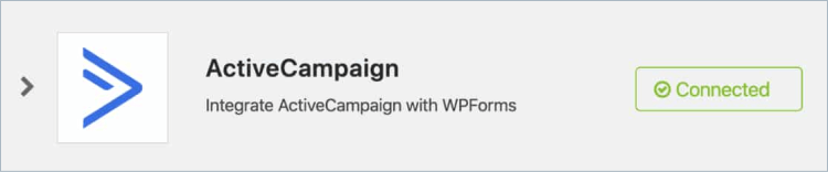 ActiveCampaign-account connected