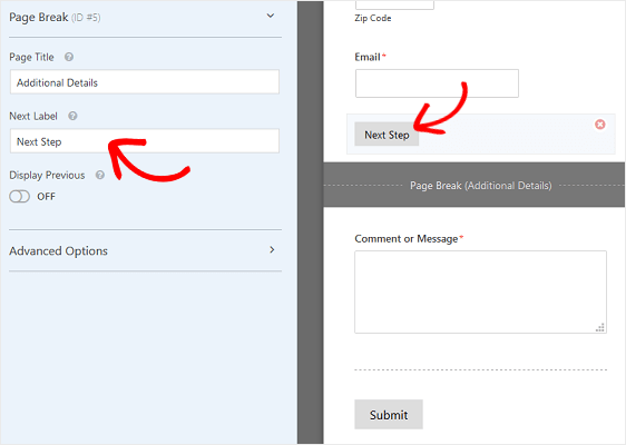 Customize Next Page label