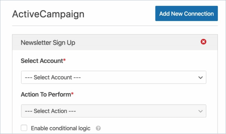 Select an account and choose an action
