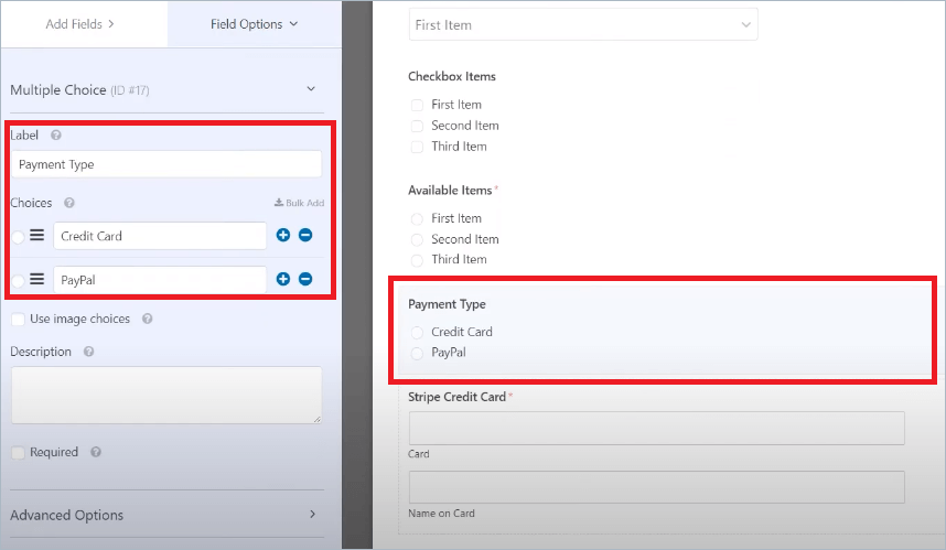 WPForms Payments Type