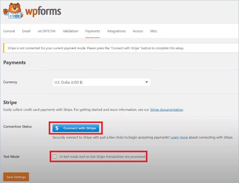 WPForms connect with stripe settings