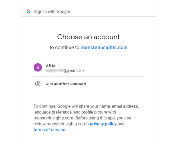 choose your google account to connect with monsterinsighs