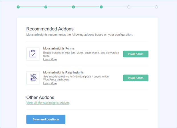 monsterinsights recommended addons