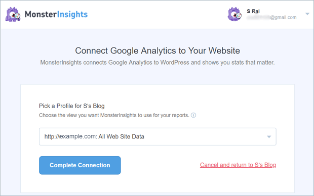 pick a profile from google analytics account