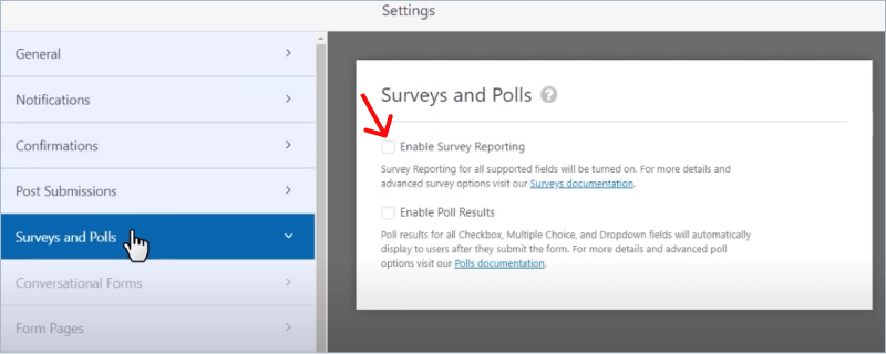 Enable Survey Reporting