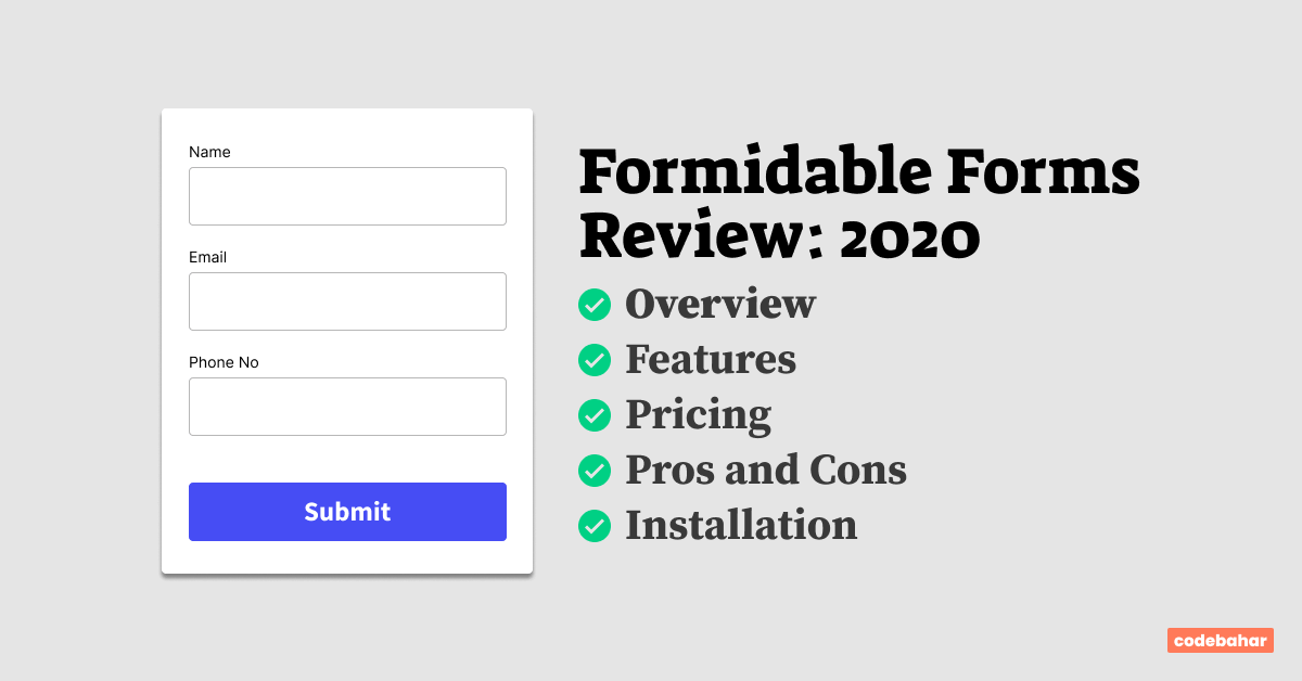 Formidable Forms Review 2020