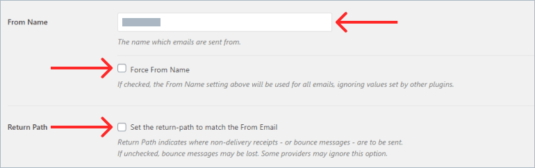 WP Mail SMTP from name and return path field