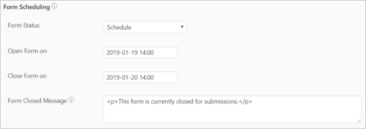 form schedule and time settings