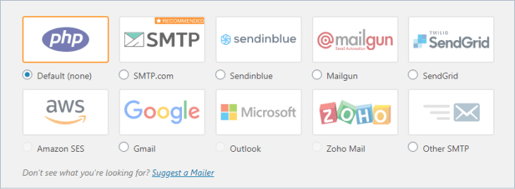 wp mail smtp mailers