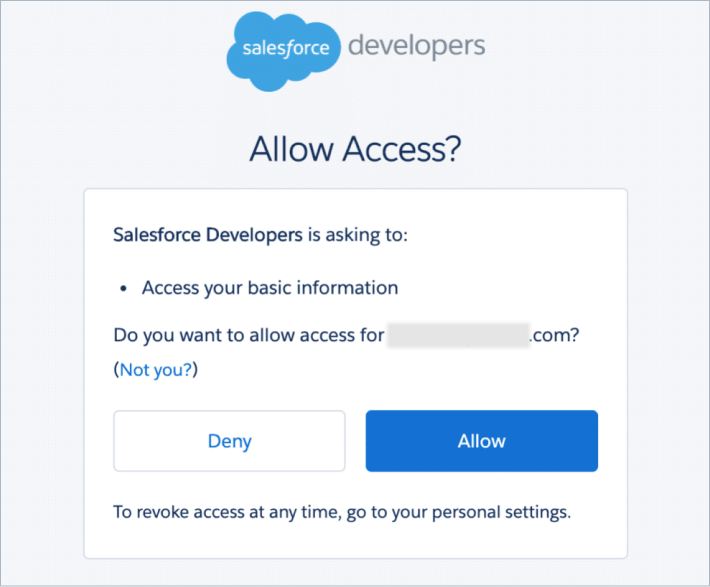 Allow Access to Salesforce Account
