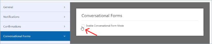 Conversational Form Mode Check box to Enable in WPForms
