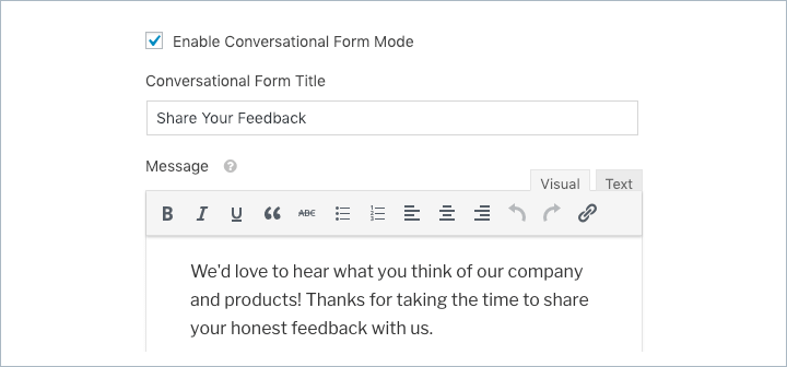 Conversational Forms title and message settings