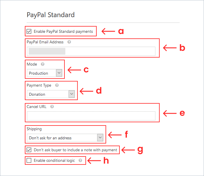 PayPal Settings for donation form WPForms