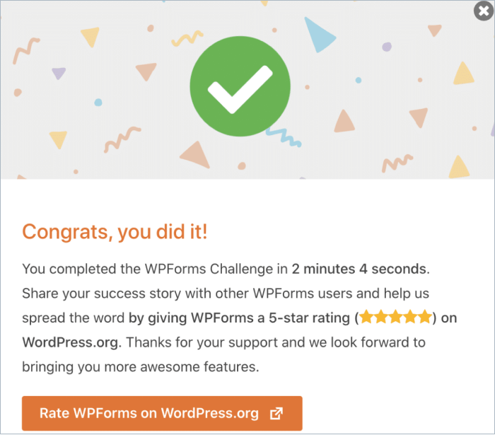 Completed WPForms Challenge