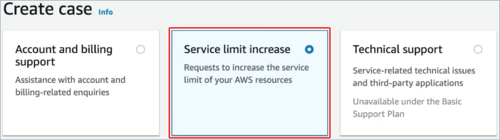Create case for server limit increase in Amazon AWS