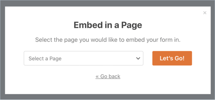 Embed WPForms in a Page