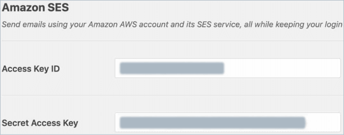 Enter access keys for Amazon SES in WP Mail SMTP