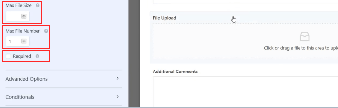 WPForms file upload field maximum file size, number of files edited