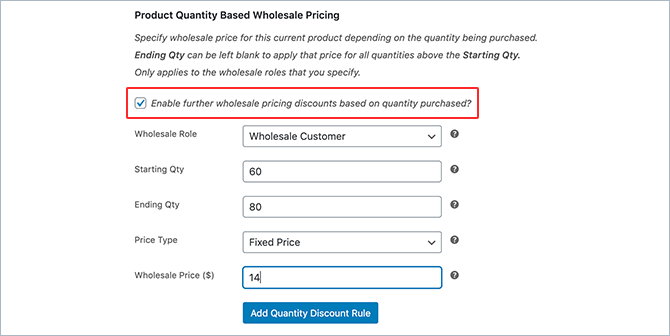WooCommerce Wholesale Suite quentity based pricing setup