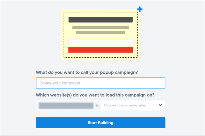 enter the name of your popup campaign box