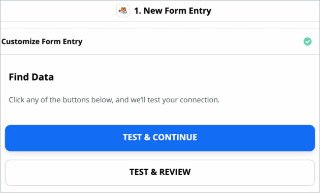 Test and continue button in Zapier
