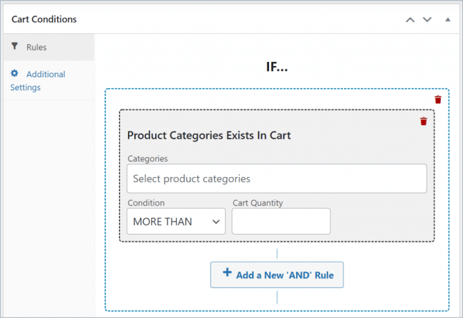 cart conditions system in advanced coupon