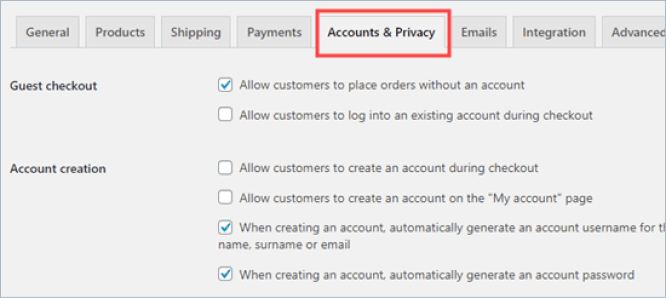 woocommerce settings accounts and privacy