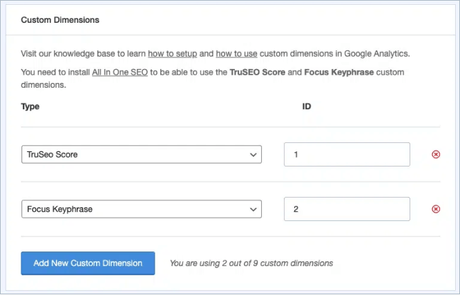 all in one seo custom dimensions settings in MonsterInsights